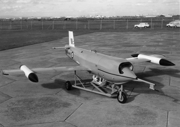 A black and white image of the GAF Jindivik, a flying target drone produced by the Australian Government Aircraft Factories (GAF). The name is from an Aboriginal Australian word meaning the hunted one