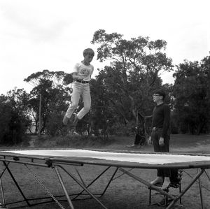 Boy on a trampoline. The Water Dwellers, 1967.