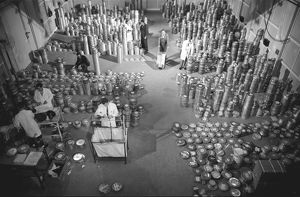 Film cans at the Commonwealth Film Unit, 1960s