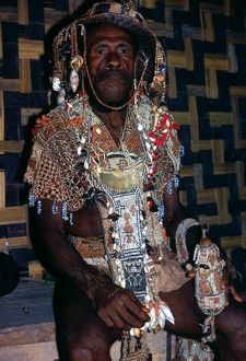 Man in traditional clothing. Solomon Islands, 1979.