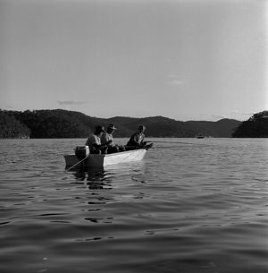 Three men in a boat. The Water Dwellers, 1967.