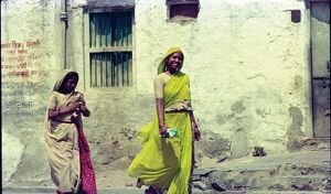 Portrait of two women in saris. Our Asian Neighbours - India