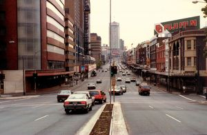 William Street, Sydney. Voting in Federal Election, 1984.