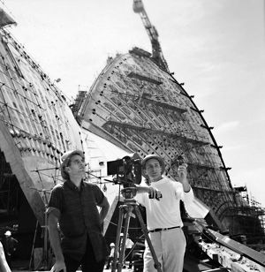 Crew filming the Construction of Stage II. Fifth Facade, 1973