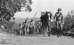 A group of men with furled flags and horse march on a dirt road.
