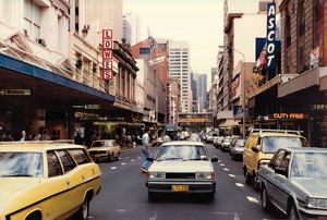 Pitt Street, Sydney. Voting in Federal Election, 1984.